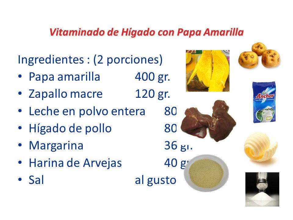 Vitaminado de Hígado con Papa Amarilla Ingredientes : (2 porciones) Papa amarilla400 gr. Zapallo macre120 gr. Leche en polvo entera80 gr. Hígado de po