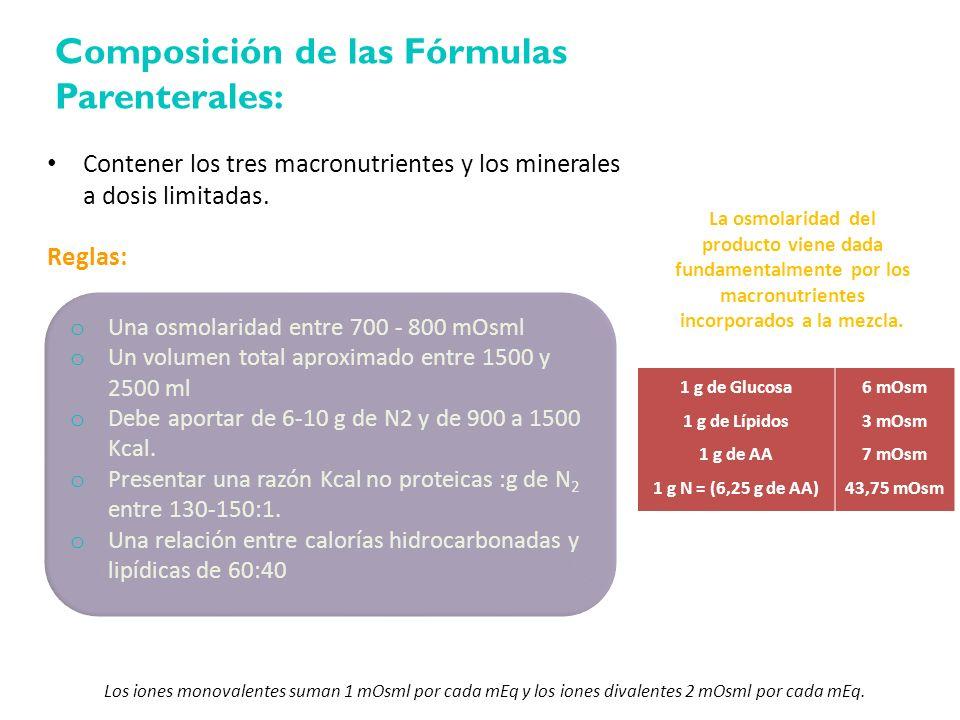 La osmolaridad del producto viene dada fundamentalmente por los macronutrientes incorporados a la mezcla. Contener los tres macronutrientes y los mine