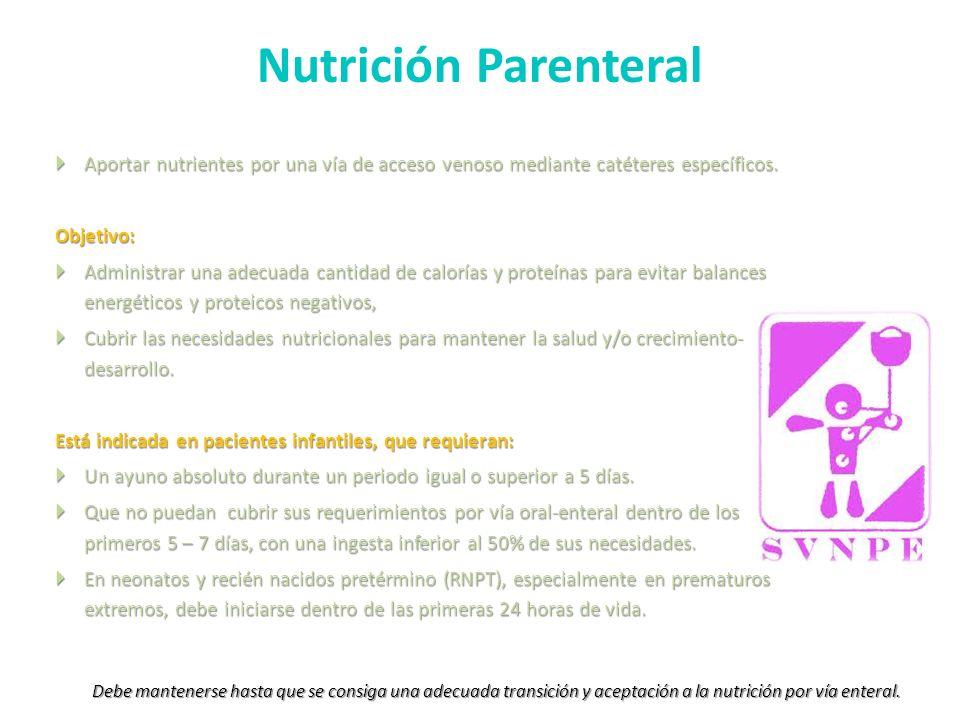 Nutrición Parenteral Aportar nutrientes por una vía de acceso venoso mediante catéteres específicos. Aportar nutrientes por una vía de acceso venoso m