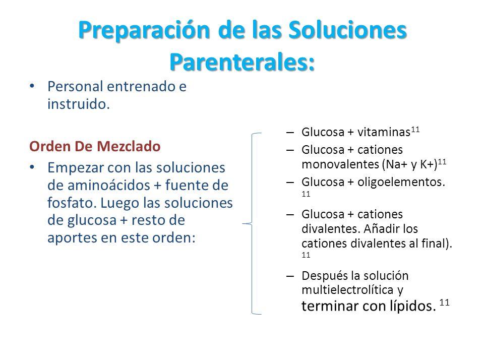 Preparación de las Soluciones Parenterales: Personal entrenado e instruido. Orden De Mezclado Empezar con las soluciones de aminoácidos + fuente de fo