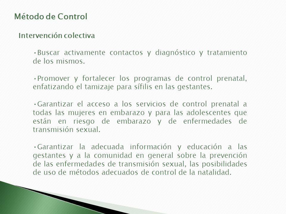 Método de Control Intervención colectiva Buscar activamente contactos y diagnóstico y tratamiento de los mismos. Promover y fortalecer los programas d