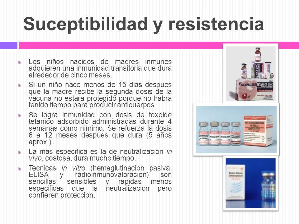 Suceptibilidad y resistencia Los niños nacidos de madres inmunes adquieren una inmunidad transitoria que dura alrededor de cinco meses. Si un niño nac