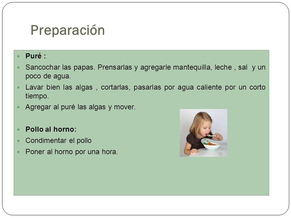 Preparación Puré : Sancochar las papas. Prensarlas y agregarle mantequilla, leche, sal y un poco de agua. Lavar bien las algas, cortarlas, pasarlas po
