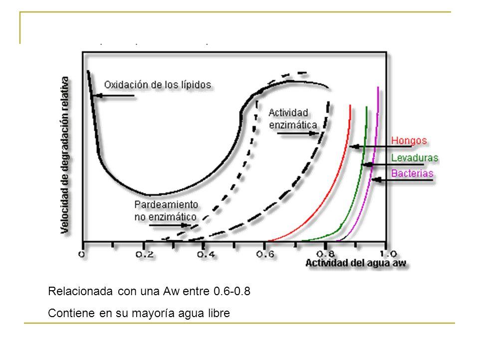 Relacionada con una Aw entre 0.6-0.8 Contiene en su mayoría agua libre