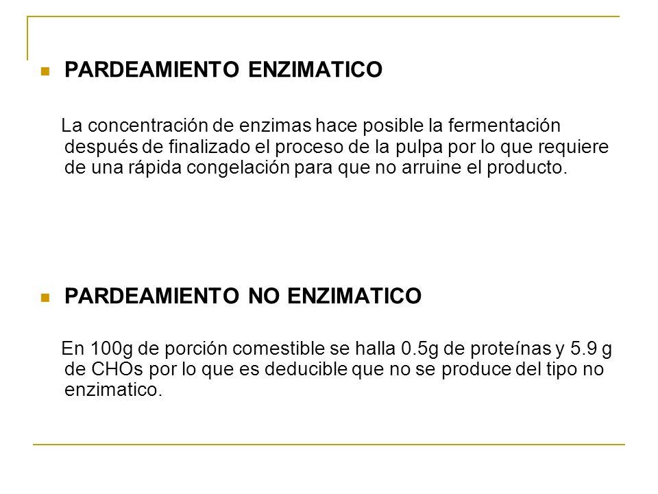 PARDEAMIENTO ENZIMATICO La concentración de enzimas hace posible la fermentación después de finalizado el proceso de la pulpa por lo que requiere de u