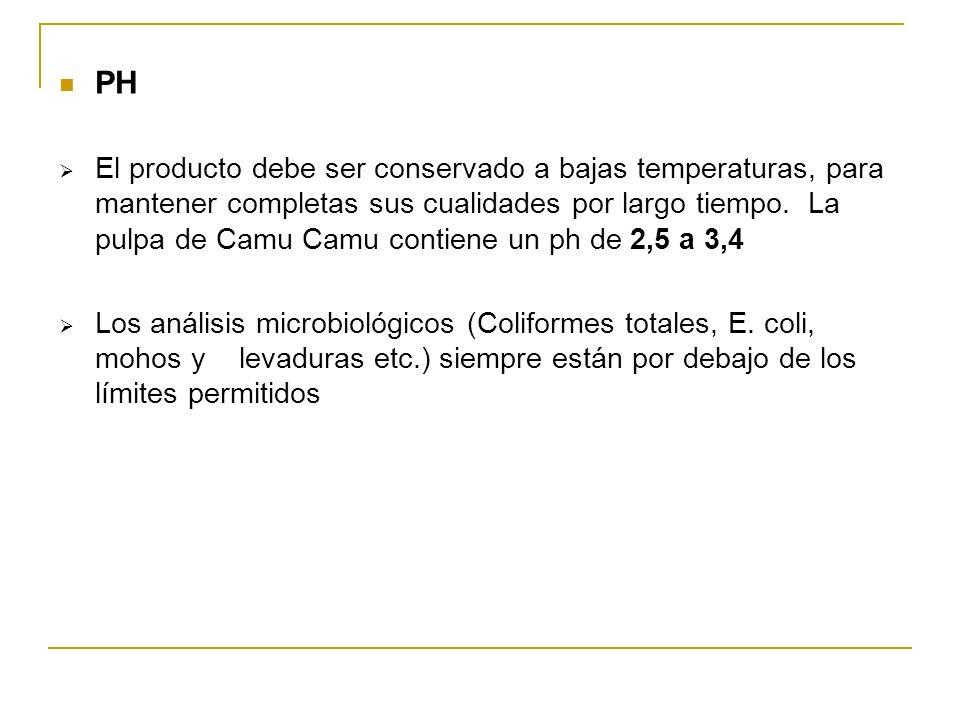 PH El producto debe ser conservado a bajas temperaturas, para mantener completas sus cualidades por largo tiempo. La pulpa de Camu Camu contiene un ph
