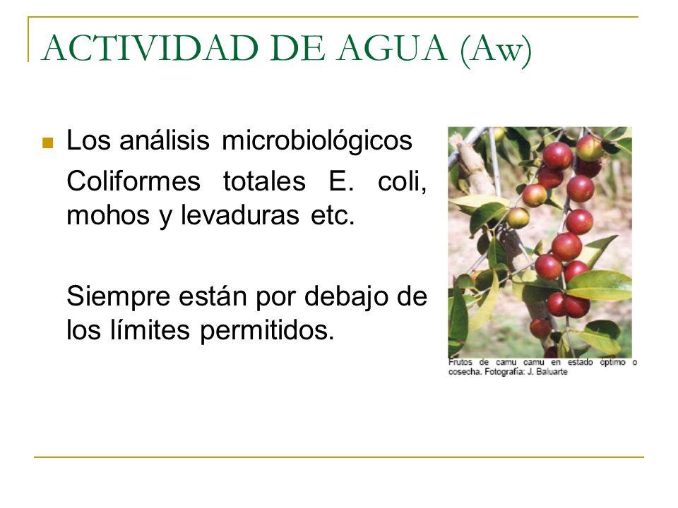 ACTIVIDAD DE AGUA (Aw) Los análisis microbiológicos Coliformes totales E. coli, mohos y levaduras etc. Siempre están por debajo de los límites permiti