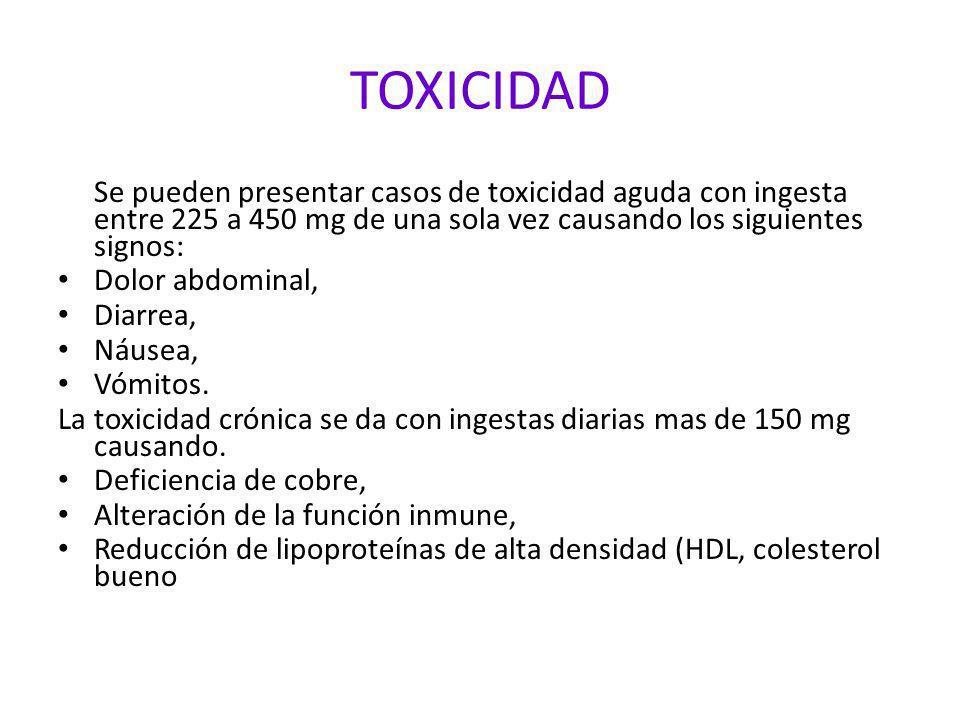 TOXICIDAD Se pueden presentar casos de toxicidad aguda con ingesta entre 225 a 450 mg de una sola vez causando los siguientes signos: Dolor abdominal,