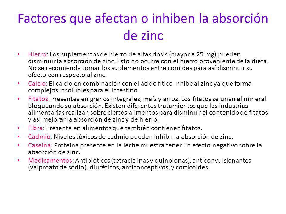 Factores que afectan o inhiben la absorción de zinc Hierro Hierro: Los suplementos de hierro de altas dosis (mayor a 25 mg) pueden disminuir la absorc