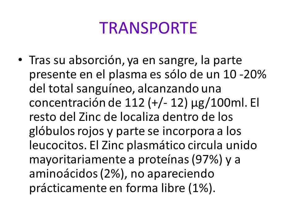 DISTRIBUCION El Zinc en el adulto oscila entre los 1,4 y los 2,5 gr.