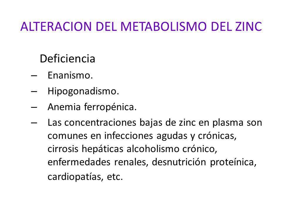 ALTERACION DEL METABOLISMO DEL ZINC Deficiencia – Enanismo. – Hipogonadismo. – Anemia ferropénica. – Las concentraciones bajas de zinc en plasma son c