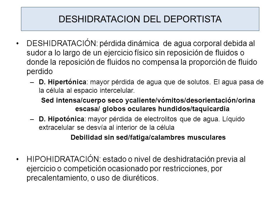 DESHIDRATACION DEL DEPORTISTA DESHIDRATACIÓN: pérdida dinámica de agua corporal debida al sudor a lo largo de un ejercicio físico sin reposición de fl