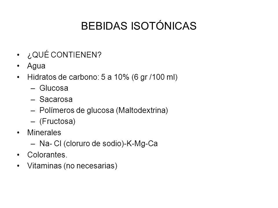 BEBIDAS ISOTÓNICAS ¿QUÉ CONTIENEN? Agua Hidratos de carbono: 5 a 10% (6 gr /100 ml) –Glucosa –Sacarosa –Polímeros de glucosa (Maltodextrina) –(Fructos