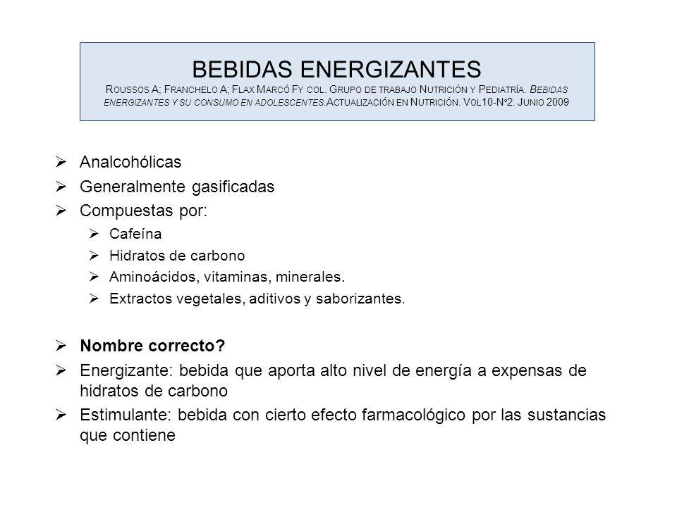 BEBIDAS ENERGIZANTES R OUSSOS A; F RANCHELO A; F LAX M ARCÓ F Y COL. G RUPO DE TRABAJO N UTRICIÓN Y P EDIATRÍA. B EBIDAS ENERGIZANTES Y SU CONSUMO EN