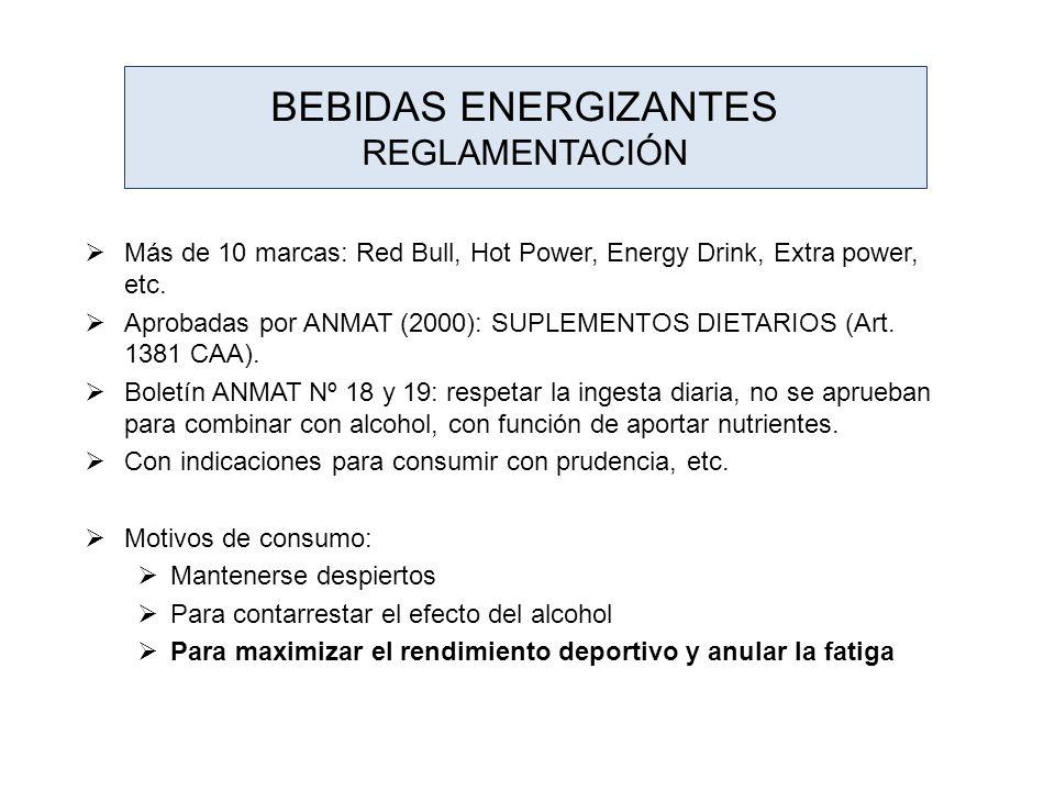 BEBIDAS ENERGIZANTES REGLAMENTACIÓN Más de 10 marcas: Red Bull, Hot Power, Energy Drink, Extra power, etc. Aprobadas por ANMAT (2000): SUPLEMENTOS DIE