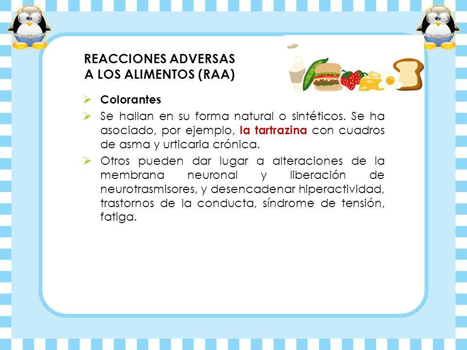 REACCIONES ADVERSAS A LOS ALIMENTOS (RAA) Colorantes Se hallan en su forma natural o sintéticos. Se ha asociado, por ejemplo, la tartrazina con cuadro