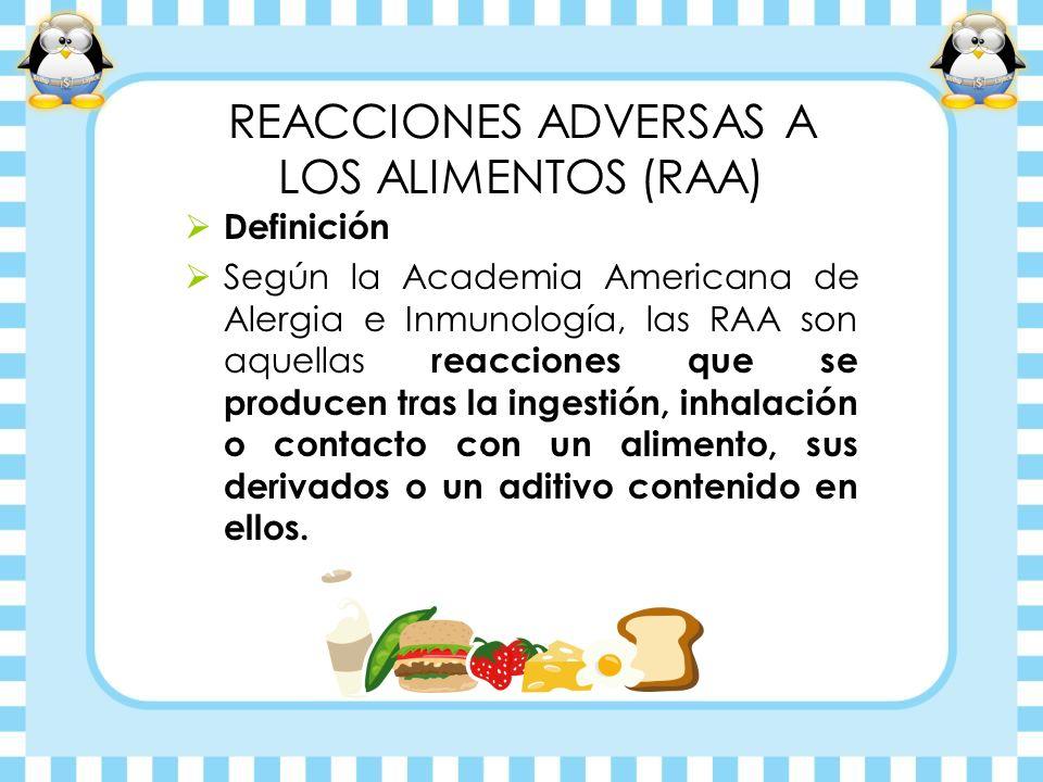 Definición Según la Academia Americana de Alergia e Inmunología, las RAA son aquellas reacciones que se producen tras la ingestión, inhalación o conta