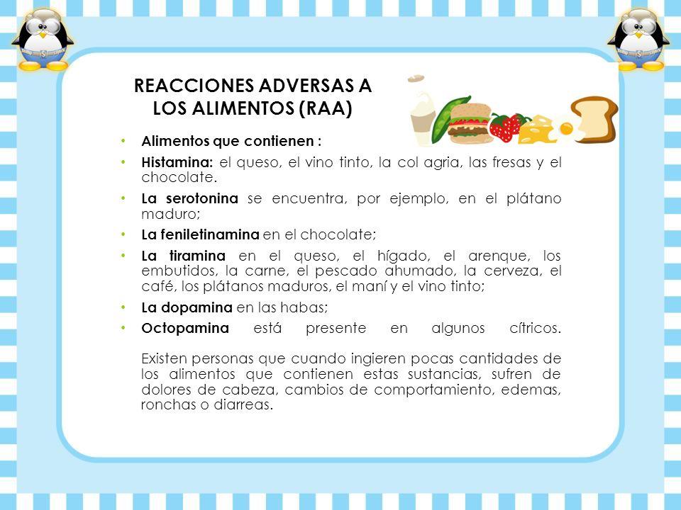 REACCIONES ADVERSAS A LOS ALIMENTOS (RAA) Alimentos que contienen : Histamina: el queso, el vino tinto, la col agria, las fresas y el chocolate. La se