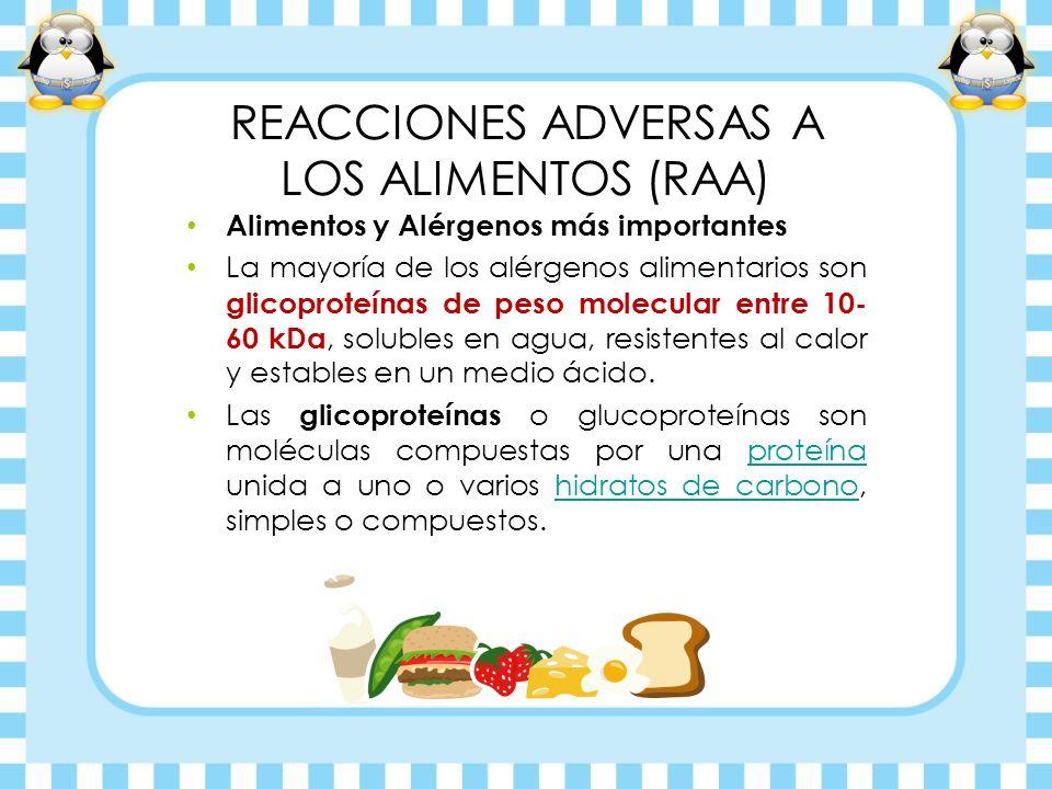REACCIONES ADVERSAS A LOS ALIMENTOS (RAA) Alimentos y Alérgenos más importantes La mayoría de los alérgenos alimentarios son glicoproteínas de peso mo