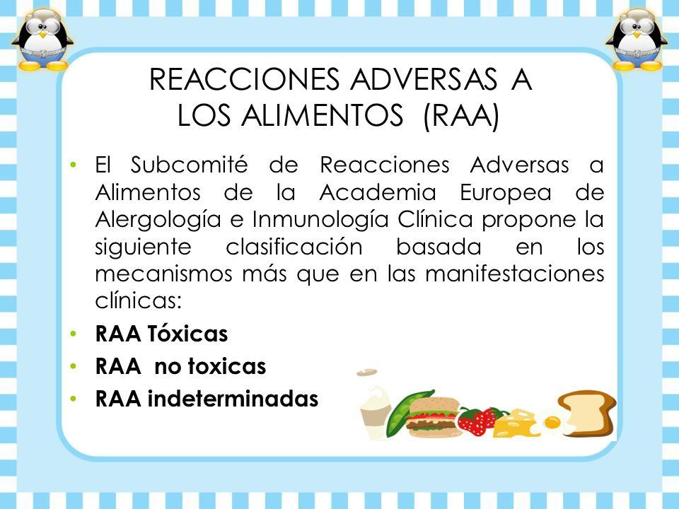 REACCIONES ADVERSAS A LOS ALIMENTOS (RAA) El Subcomité de Reacciones Adversas a Alimentos de la Academia Europea de Alergología e Inmunología Clínica