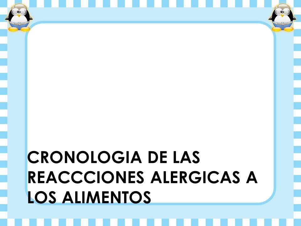 CRONOLOGIA DE LAS REACCCIONES ALERGICAS A LOS ALIMENTOS