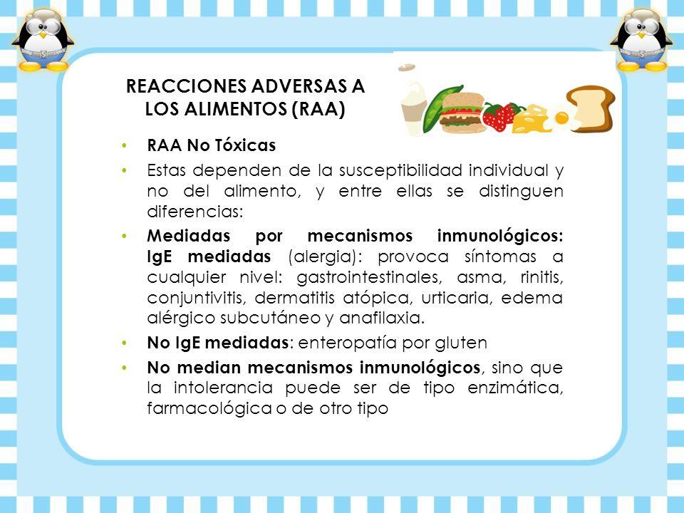 REACCIONES ADVERSAS A LOS ALIMENTOS (RAA) RAA No Tóxicas Estas dependen de la susceptibilidad individual y no del alimento, y entre ellas se distingue