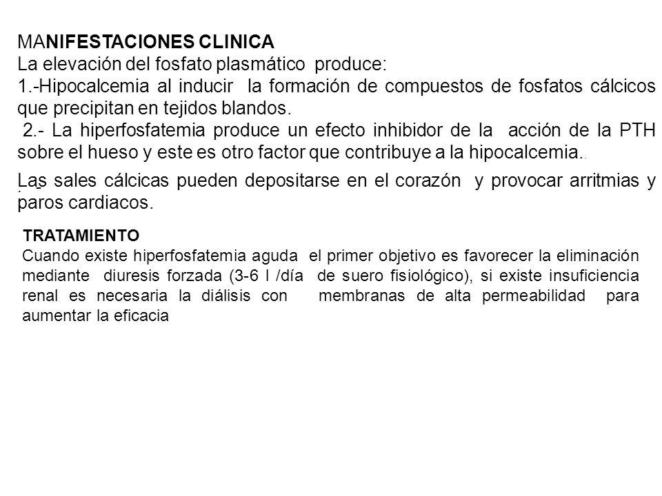 MANIFESTACIONES CLINICA La elevación del fosfato plasmático produce: 1.-Hipocalcemia al inducir la formación de compuestos de fosfatos cálcicos que pr