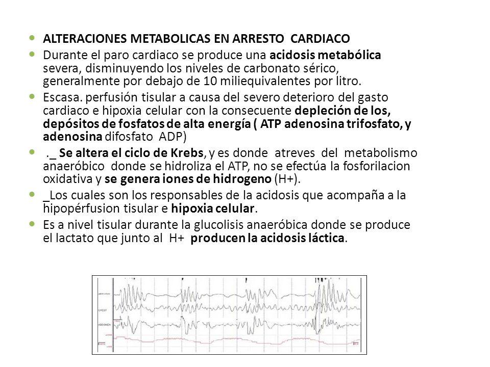 ALTERACIONES METABOLICAS EN ARRESTO CARDIACO Durante el paro cardiaco se produce una acidosis metabólica severa, disminuyendo los niveles de carbonato