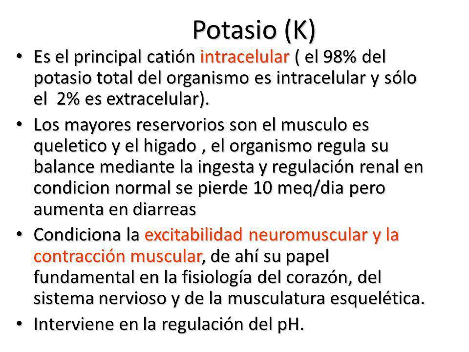 Potasio (K) Es el principal catión intracelular ( el 98% del potasio total del organismo es intracelular y sólo el 2% es extracelular). Es el principa