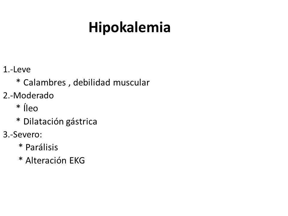 Hipokalemia 1.-Leve * Calambres, debilidad muscular 2.-Moderado * Íleo * Dilatación gástrica 3.-Severo: * Parálisis * Alteración EKG