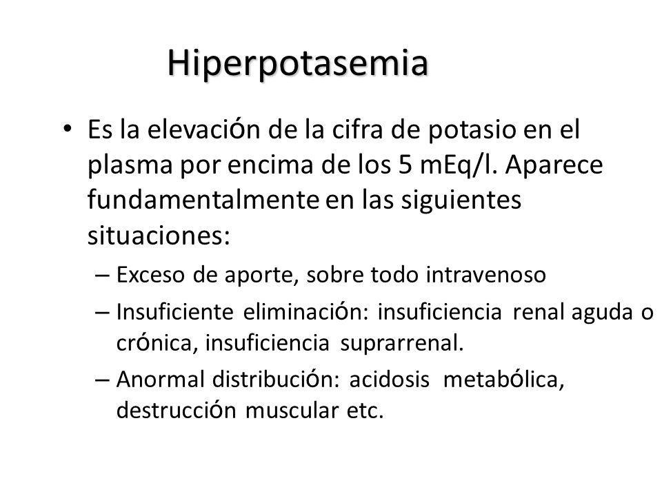 Hiperpotasemia Es la elevaci ó n de la cifra de potasio en el plasma por encima de los 5 mEq/l. Aparece fundamentalmente en las siguientes situaciones