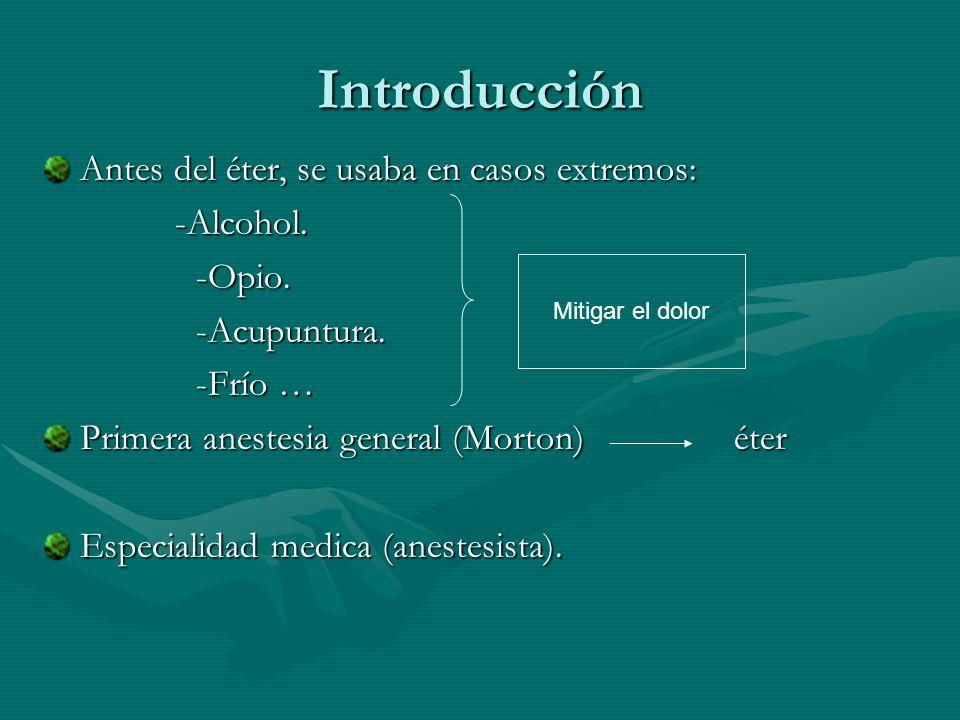 Introducción Antes del éter, se usaba en casos extremos: -Alcohol. -Alcohol. -Opio. -Opio. -Acupuntura. -Acupuntura. -Frío … -Frío … Primera anestesia