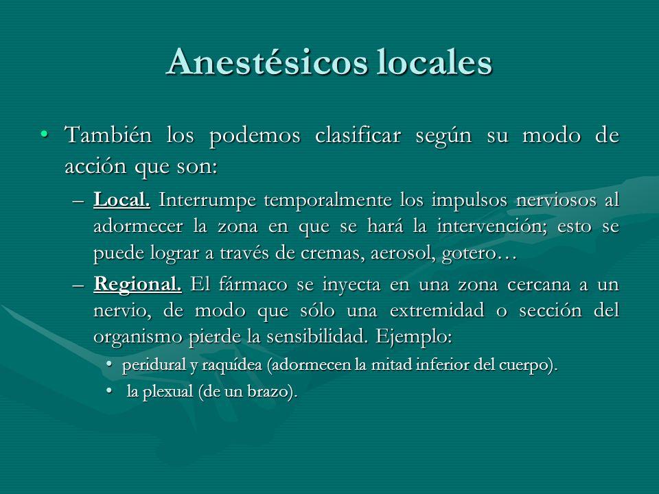 Anestésicos locales También los podemos clasificar según su modo de acción que son:También los podemos clasificar según su modo de acción que son: –Lo