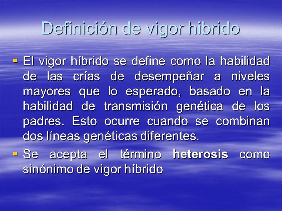 Definición de vigor hibrido El vigor híbrido se define como la habilidad de las crías de desempeñar a niveles mayores que lo esperado, basado en la ha