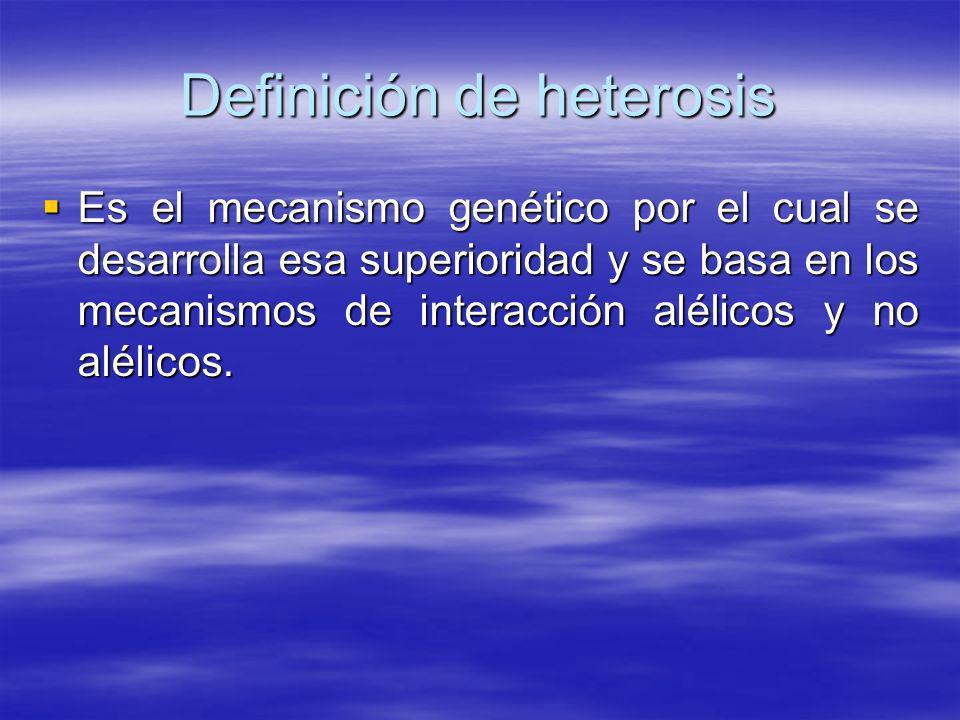 Definición de heterosis Es el mecanismo genético por el cual se desarrolla esa superioridad y se basa en los mecanismos de interacción alélicos y no a