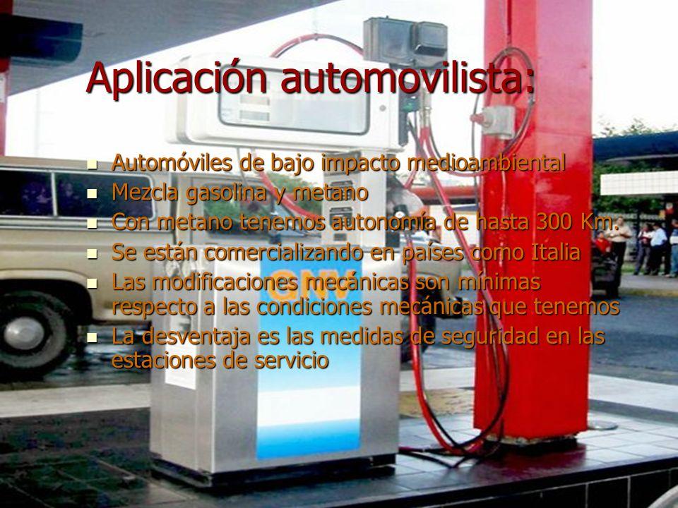 Aplicación automovilista: Automóviles de bajo impacto medioambiental Automóviles de bajo impacto medioambiental Mezcla gasolina y metano Mezcla gasoli