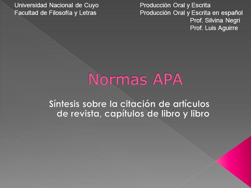 Universidad Nacional de CuyoProducción Oral y Escrita Facultad de Filosofía y LetrasProducción Oral y Escrita en español Prof.
