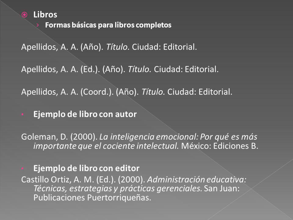 Libros Formas básicas para libros completos Apellidos, A.