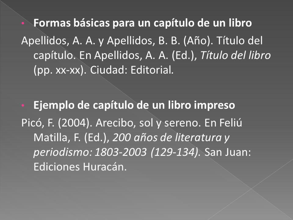 Formas básicas para un capítulo de un libro Apellidos, A.