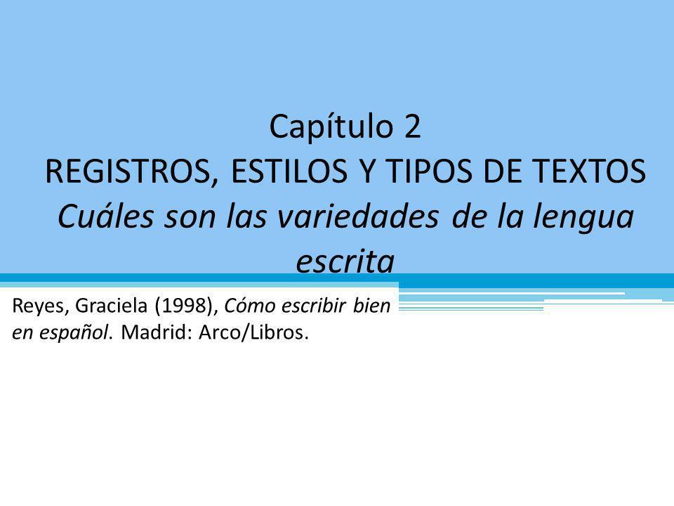 Variaciones de la lengua escrita Género Estilo Registro