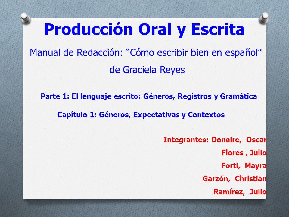 Producción Oral y Escrita Manual de Redacción: Cómo escribir bien en español de Graciela Reyes Parte 1: El lenguaje escrito: Géneros, Registros y Gram