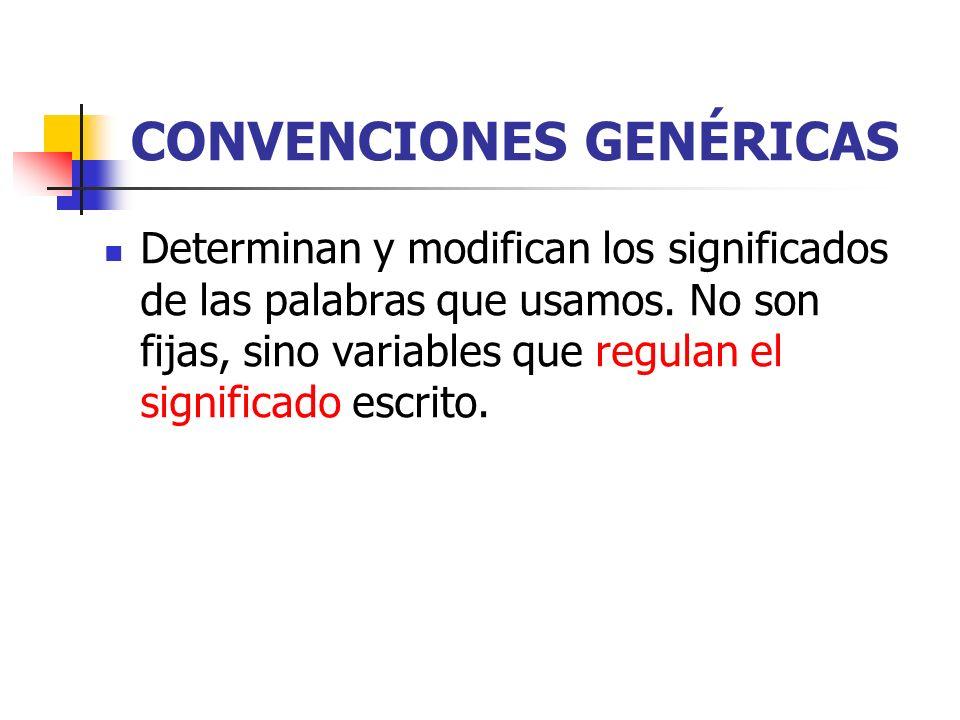 CONVENCIONES GENÉRICAS Determinan y modifican los significados de las palabras que usamos. No son fijas, sino variables que regulan el significado esc