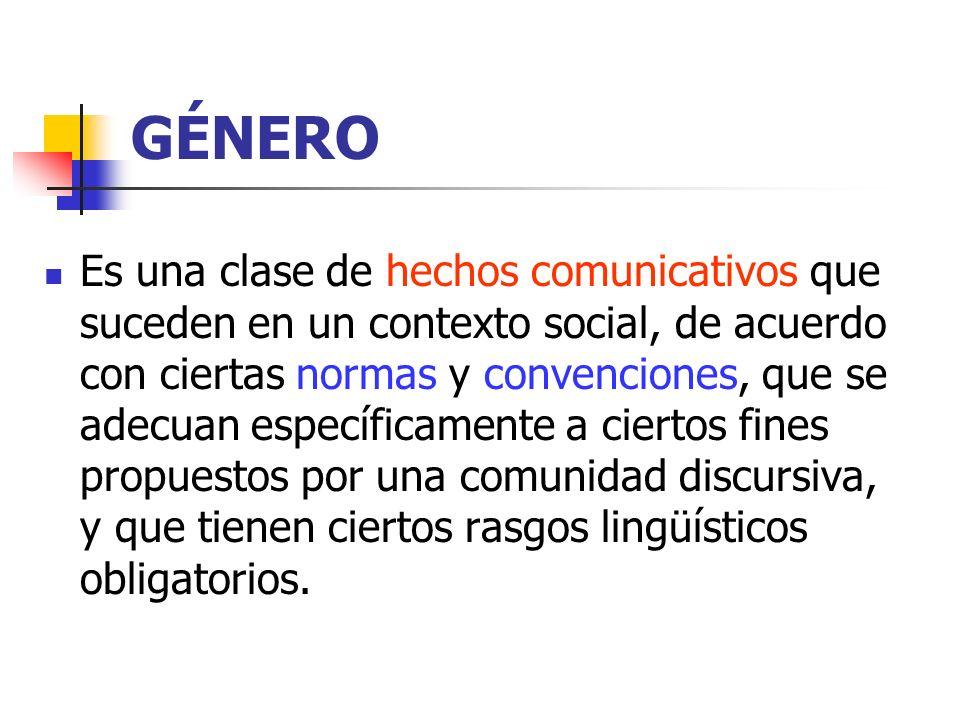 GÉNERO Es una clase de hechos comunicativos que suceden en un contexto social, de acuerdo con ciertas normas y convenciones, que se adecuan específica