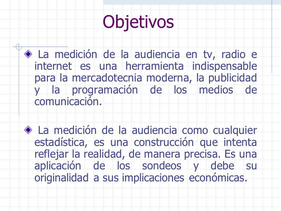 Objetivos La medición de la audiencia en tv, radio e internet es una herramienta indispensable para la mercadotecnia moderna, la publicidad y la programación de los medios de comunicación.