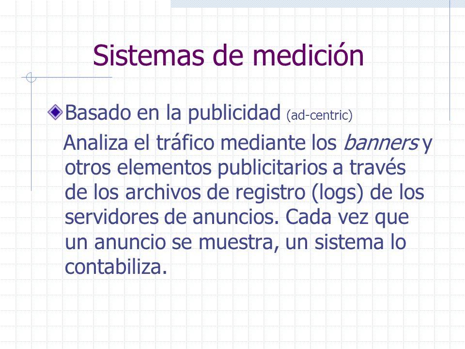 Sistemas de medición Basado en la publicidad (ad-centric) Analiza el tráfico mediante los banners y otros elementos publicitarios a través de los archivos de registro (logs) de los servidores de anuncios.