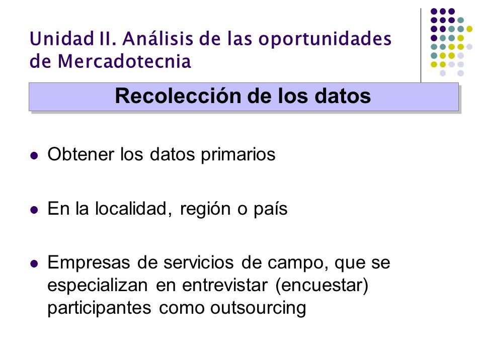 Unidad II. Análisis de las oportunidades de Mercadotecnia Obtener los datos primarios En la localidad, región o país Empresas de servicios de campo, q