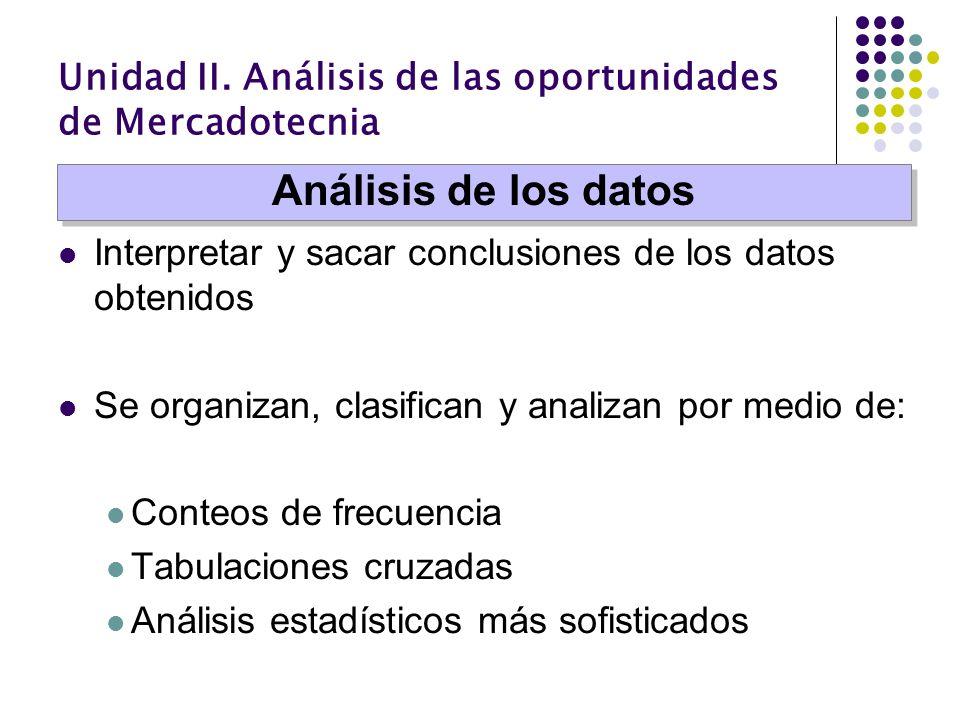 Unidad II. Análisis de las oportunidades de Mercadotecnia Interpretar y sacar conclusiones de los datos obtenidos Se organizan, clasifican y analizan