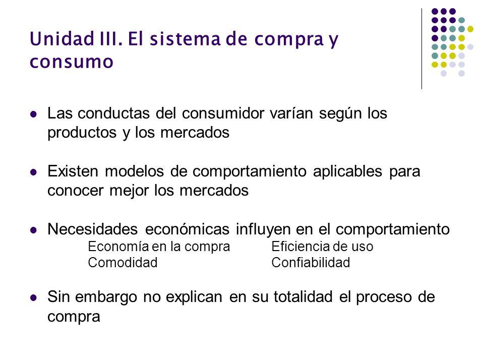 Unidad III. El sistema de compra y consumo Las conductas del consumidor varían según los productos y los mercados Existen modelos de comportamiento ap