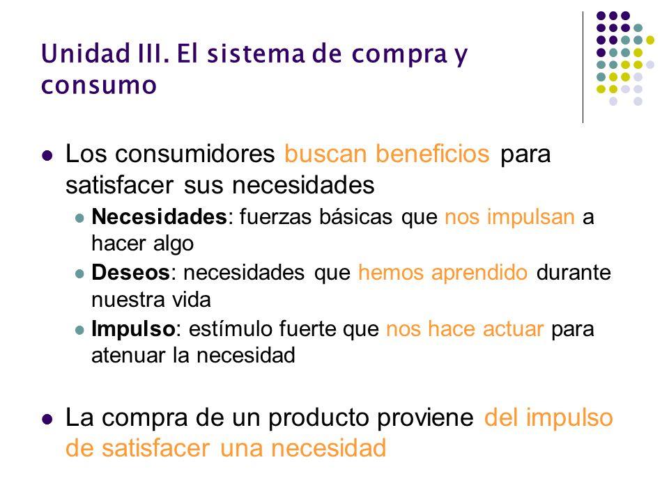 Unidad III. El sistema de compra y consumo Los consumidores buscan beneficios para satisfacer sus necesidades Necesidades: fuerzas básicas que nos imp