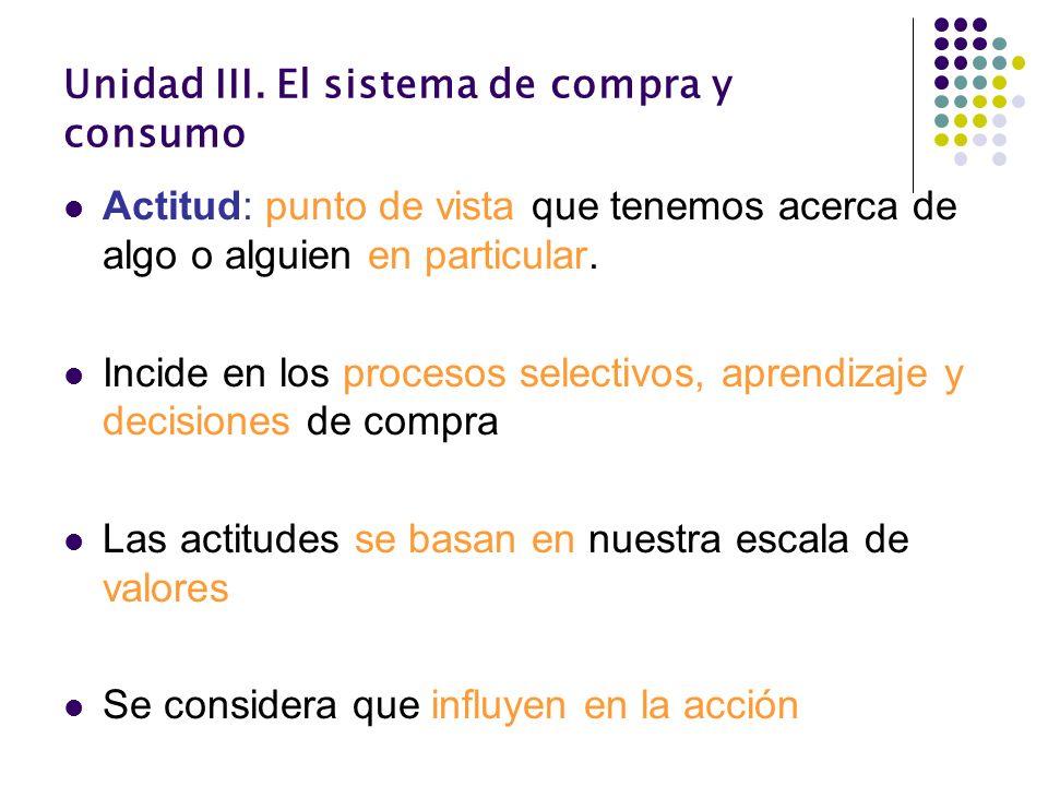 Unidad III. El sistema de compra y consumo Actitud: punto de vista que tenemos acerca de algo o alguien en particular. Incide en los procesos selectiv